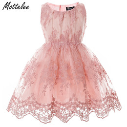 flowers girls frock Canada - Girls Lace Dress Elegant Children Wedding Party Gown Pageant Baby Dresses Kids Flower Frock Princess Birthday Dress Girl 2-7Year T191006