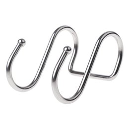 $enCountryForm.capitalKeyWord Australia - Home Use Stainless Steel Round S Shaped Dual Hanger Hook Kitchen Cabinet Clothes Storage Kitchen Dual Cloth