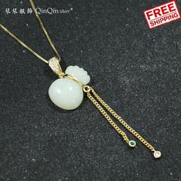 Jade Pendants Plate Australia - S925 Pure Silver Gold-plated Electric Background Jade Purse Tassels Diamond pendant necklace Nation Wind Ma'am