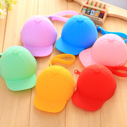 Candy baseball Caps online shopping - creative baseball cap coin purse silicone cap coin bag mini hat key bag candy color small change purse wallet for kids