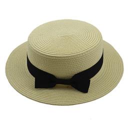 Straw Derby Stingy Australia - Simple Summer Women Flat brim Bowknot Straw Sun Hat Fashion Parent child Beach Casual Panama Hat