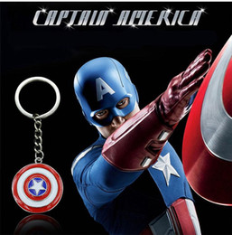 Metal Movies Australia - European and American Movies Super Hero Captain America The First Avenger Alloy Metal Necklace Five Star Shield Pentagram Keychain HYS389-10