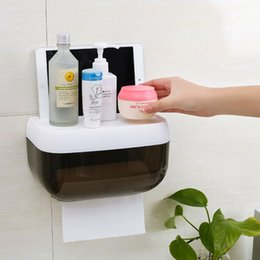 Wholesale Roll Paper Towels Australia - Wall-mounted Bathroom Tissue No Punching Tissue Box Holder for Multifold Paper Towels Champagne gold Silver White Optional