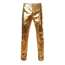China Gold Shiny PU Leather Motorcycle Pants Men Brand New Skinny Tights Leggings Nightclub Stage Trousers Singers Dancer Male Joggers cheap gold stage pants suppliers
