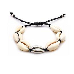 Woven anklets online shopping - Metal Alloy Shell Bracelet Anklet Natural Shell Hand Weaving Bracelet