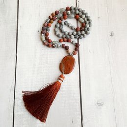 $enCountryForm.capitalKeyWord Australia - Lii Ji Matte Grey Crazy Agate Red Jasper Pendant Tassel Bohemia Long Handmade Necklace Yoga Necklace Drop Shipping