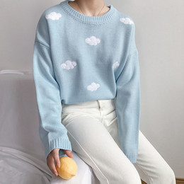 $enCountryForm.capitalKeyWord Australia - Kawaii Women's Ulzzang Vintage College Loose Clouds Sweater Female Korean Punk Thick Cute Loose Harajuku Clothing For Women