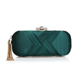 Clutch Bag Party Green Australia - Vintage Elegant Tassel Clutch Bag Fashion Silk Lady Evening Bag Banquet Shoulder Women Handbag Dark Green Wedding Purse A3