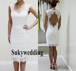 wedding dress sweetheart open Australia - Full Lace Wedding Dresses 2019 Knee Length Sweetheart Open Back Short Beach Boho Bridal Gowns Vestidos De Noiva Cheap Sheath Wedding Gowns