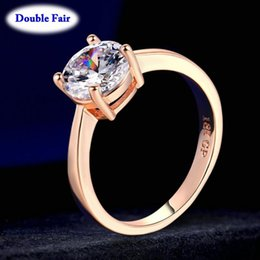rose gold cluster engagement rings Australia - Top Quality Round + Cubic Zirconia Rose White Gold Color Fashion Jewelry Rings For Women Engagement Wholesale DWR333 R335