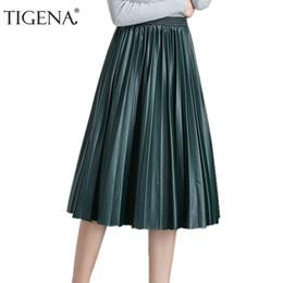 Red Leather Dresses Australia - Tigena High Waist Pleated Pu Faux Leather Skirt Women 2019 Autumn Winter Elegant Midi Long Skirts Female Black Red Leather Skirt Y19060301