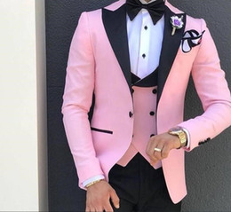 men tuxedo pink black images Australia - XLY 2019 Pink With Black Lapel Suits for Men Terno Slim Groom Tuxedos 3 Piece Wedding Mens Suit Masculino(Jacket+Pants+vest) Male Blazer
