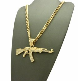 "6mm Cuban Chain Australia - NEW ICED 14K GOLD PLATED MACHINE GUN AK 47 PENDANT NECKLACE w  6mm 24"" Cuban Chain MENS HIP HOP JEWELRY"