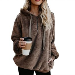 winter warm hoodie zip up UK - Plus Size Winter Solid Color 1 4 Zip Up Fluffy Hoodies Women Hooded Sweatshirt Women's autumn and winter casual warm
