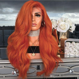 orange wavy wig Australia - Side Part Orange Synthetic Lace Front Wig with Baby Hair Heat Resistant Wig 26inch Glueless Long Wavy Wigs For Black Women 180% Density