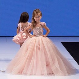 $enCountryForm.capitalKeyWord Australia - Pink Flower Girl Dresses for Wedding Cinderella Girls Dress Princess Children Party Ball Gown First Communion Dress