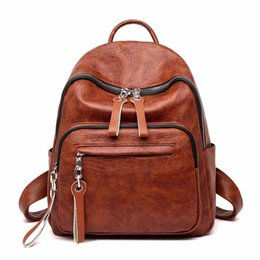 Styles Backpacks Australia - Women Leather Backpacks Sac A Dos Femme Rucksacks For Girls Female Back Pack Preppy Style Solid Large Capacity Casual Daypack