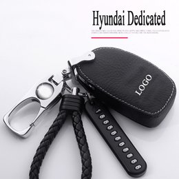 hyundai elantra car key NZ - Auto accessories cover Leather Car key case for Hyundai Elantra Avante Sonata ix25 ix35 ACCENT TUCSON VERNA Zinc alloy Keychain
