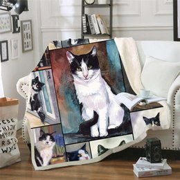 Wholesale Sofa Cushion Yoga Mat Blanket Picnic Blanket Thick Double layer Plush Anime Pet Cat d Digital Print Carry