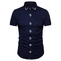 polyester short sleeve shirts Australia - Mens Summer Fashion Slim Solid Shirts Fit Short Sleeve New Casual Button Shirt Male Tops Clothing