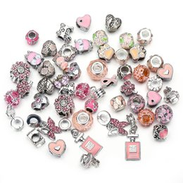 Pink Glitter Alloys Australia - Pink Color 50 Mixed DIY Charm Beads Fashion European Beads Charms Alloy Large Hole Beads Plating Jewelry Accessory Floral Bowknot Glitter