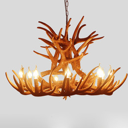 antlers light UK - Vintage Mid Century Chandelier Lighting Brown Antler Home Living Room Pendant Light Ceiling Lighting Fixture PA0409