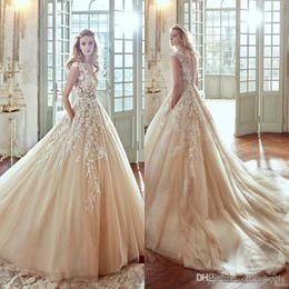 Wholesale nicole online – design Vintage Nicole Blush Pink Wedding Dresses Bateau Neck Capped Sleeves Appliqued Bridal Gowns Sweep Train Champagne