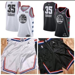 e1db0a246b0 Men s Golden State Kevin Warriors 35 Durant Brand White Black 2019 All-Star  Game Finished Swingman Jersey