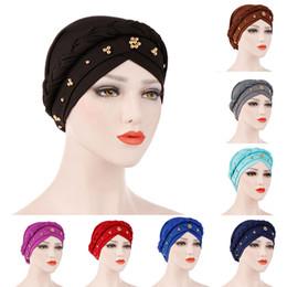 muslim women caps 2019 - Women muslim hijab Turban Beading Headband India Hat bonnet Ruffle Hair Hats Beanie Bandanas Head Wrap Headwear Cap abay