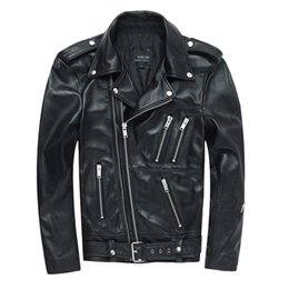 free leather bikers 2019 - Male Clothing Turn Down Collar Mens Black Cowhide Leather Jackets 4XL Short Slim Mens Biker Motorcycle Coats Free Shippi