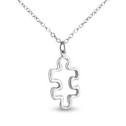 Necklaces Pendants Australia - 30 Geometric hollow geometric puzzle necklace fashion Jigsaw baby autism pendant necklace heart public welfare holiday gift jewelry necklace