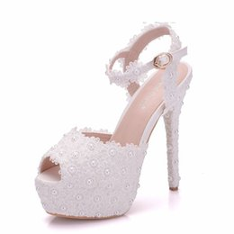 Shoes Women High Heel White Australia - White Lace Flower Wedding Shoes Slip On Round Toe Bridal Sandals High Heel Women Pumps Shallow Round Toe