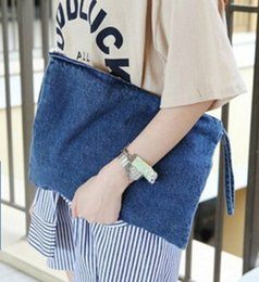 $enCountryForm.capitalKeyWord Australia - 1017 South Korea New Female Clutch Bag Holding Pure Color Washed Cowboy Hand Grasping Purse