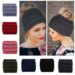 $enCountryForm.capitalKeyWord Australia - Ponytail Beanie Women Knitted Turban Headband Crochet Beanies Winter Hats Cap Warm Lady Messy Bun Hat For Women
