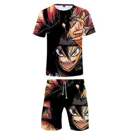 $enCountryForm.capitalKeyWord Australia - Black Clover 3D print Street casual Personality man kpop Fashion cool Basic 2 Pic Set Summer T-shirt+Short Pants Sets Sports