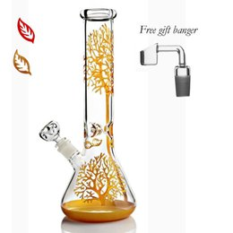 heady oil dab rigs UK - Beaker bong 11 inches tall 14 mm Gold red colorful with downstem bowl dab heady burner recycler oil rigs rig bubbler water glass pipes bongs