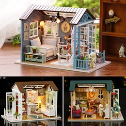handmade wooden dolls house NZ - Doll House Miniature DIY Model Dollhouse With Furnitures American Retro Style Wooden House Handmade Toy Forest Times Z007 #E Y200317