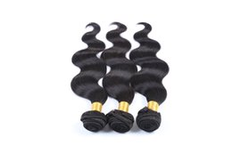 Discount human hair jet black - Jet Black Color Malaysian Body Wave 10-28 Inches 100% Human Hair Weave Bundles Unprocessed Double Weft Hair Weaving