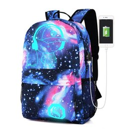 $enCountryForm.capitalKeyWord UK - Teen Girls Galaxy School Bag Noctilucent Backpack Collection Canvas USB Charger Anti-Theft Lock #121 #150898