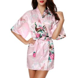 Discount half sleeves satin robe - Sexy Long Silk Print Sleepwear Women Satin Dressing Gown Kimono Robe Half Sleeve Cardigan Bath (S,Purple)