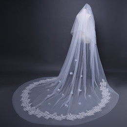 $enCountryForm.capitalKeyWord NZ - 3D Flower Lace Applique Wedding Veil Wedding Bridal Hair Accessories Wedding Accessories Bridesmaid Veils With Comb Cheap Bridal Accessories
