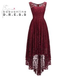 $enCountryForm.capitalKeyWord UK - Sleeveless Burgundy Short Lace Vintage Evening Dresses 2019 A Line Formal Women Dress Elegant Prom Gown vestido de