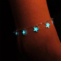 Wholesale New Fashion Star Luminous Anklets Glow In Night Tennis Ankle Chain Bracelet Women Summer Beach Sand Jewelry Bracelet Good Quality