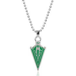 $enCountryForm.capitalKeyWord Australia - Movie Superhero Green Arrow Pendants Necklaces DC Comic Green Arrow Oliver Queen Hero Pendant Necklace Geometric Arrow Enamel Metal Necklace