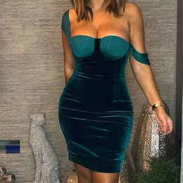 $enCountryForm.capitalKeyWord NZ - Formal Party Dress Elegnat Sheath Evening Club Green Dress 2019 Spring New Sexy Female Strapless Women Mini M0548