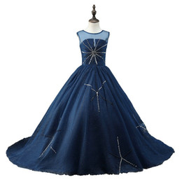 $enCountryForm.capitalKeyWord UK - Fashion Navy Cheap Girls Pageant Dresses 2019 Backless Bling Crystal Rhinestones Tulle Sheer Neck Real Photo Long Kids Formal Prom Dress