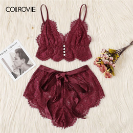 775e708f539a COLROVIE Burgundy Ribbon Scalloped Floral Lace Sexy Intimates Women Lingerie  Set 2019 Fashion Bralette Underwear Bra Set