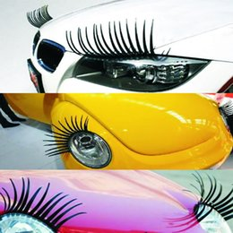 funny charms wholesale UK - Car stying 3D Charming Black False Eyelashes Fake Eye Lash Sticker Car Headlight Decoration Funny Decal Personalized Stickers For Beetle