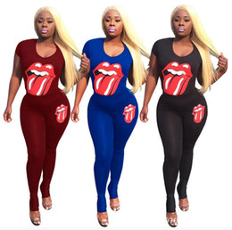 wholesale ski suits Australia - Big Lips Summer Women T-shirt Pants Sports Suits Print Tights Leggings Tees Tops Tracksuit Soft Trendy Sexy Club Sportswear Outfits Girls