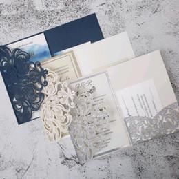 White Invitations Cards Australia - Pearl White Ivory Pink Navy Blue  Tri Fold Vertico pocket Laser Cut Vine Wedding Invitations Cards Hollow Carving Greeting invites Engagemen
